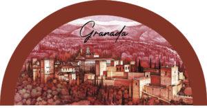 Abanico Granada rojo